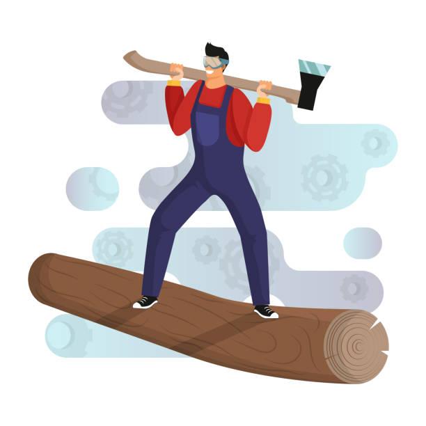 illustrations, cliparts, dessins animés et icônes de le jeune bûcheron avec des salopettes et des lunettes se tient sur le tronc d'un arbre abattu avec une hache - man axe wood