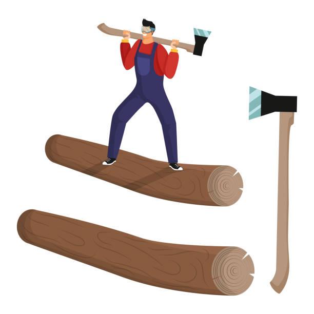 illustrations, cliparts, dessins animés et icônes de le jeune bûcheron avec des salopettes et des lunettes se tient sur le tronc de l'arbre abattu avec la hache. ensemble d'objets isolés. - man axe wood