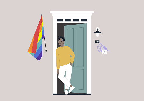 A young male Asian character standing outside their entrance door with a rainbow flag on the wall, a safe space for the LGBTQ community, coming out