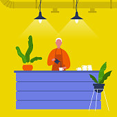 Young male barista pouring coffee at the bar counter. Cafe. Loft interior. Modern lifestyle. Flat editable vector illustration, clip art