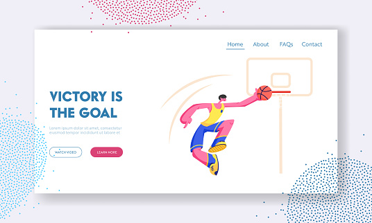 Young Male Basketball Player Score Goal into Basket. Championship or Team Competition, Sportsman in Motion Jumping with Ball. Website Landing Page, Web Page. Cartoon Flat Vector Illustration, Banner