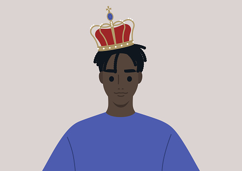 A young male Black character wearing a vintage golden crown with pearls and velvet, a royal family theme