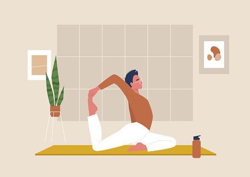 Young male character doing stretching exercises, mindfulness and meditation,  yoga studio
