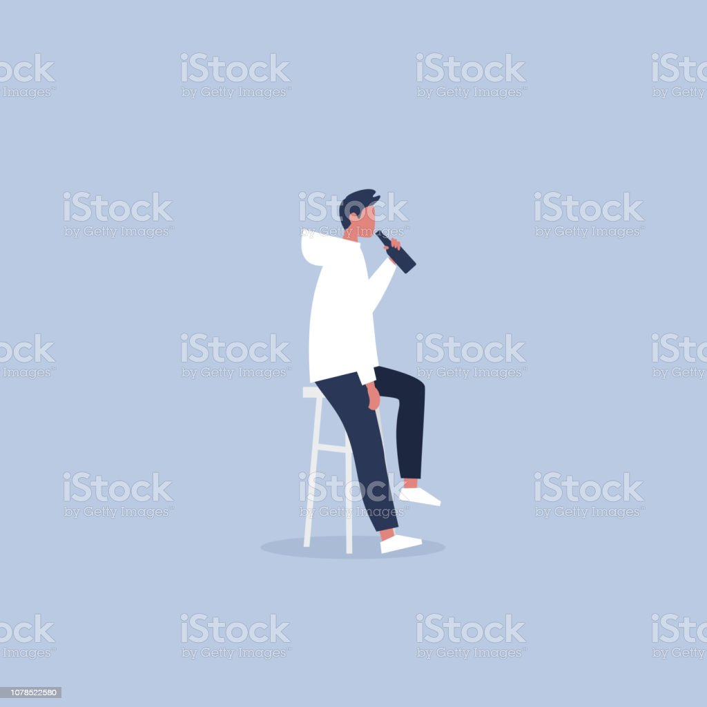 Young male character drinking a bottle of beer in a pub. Friday night. After work. Leisure. Flat editable vector illustration, clip art vector art illustration