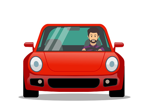 Young male character driving a car, millennial lifestyle, Young man driver.