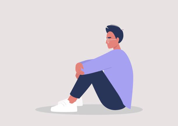 stockillustraties, clipart, cartoons en iconen met jong mannelijk karakter dat hun knieën, emotionele spanning, geestelijke gezondheid omhelst - jonge mannen