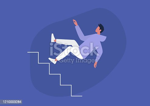Young male character falling from a staircase, misfortune, failure concept