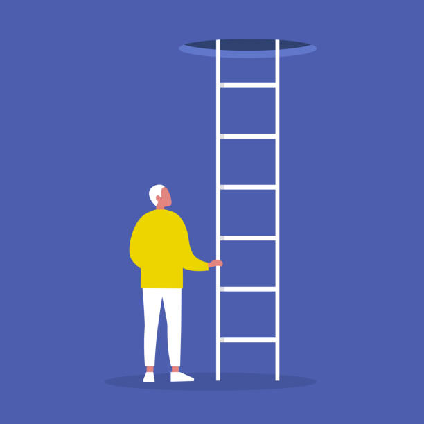 young male character holding a ladder. going up. successful career. opportunities. conceptual vector illustration, clip art - ilustracje z kategorii cele podróży stock illustrations