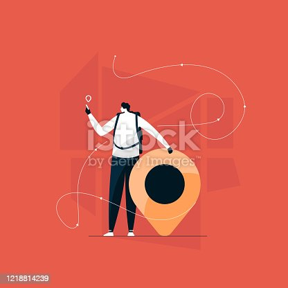 Young male character holding phone and using a navigational app illustration, location finder vector