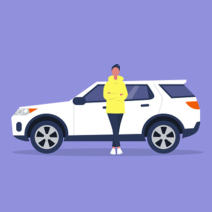 Young male character in full length leaning against a sport car, flat vector illustration