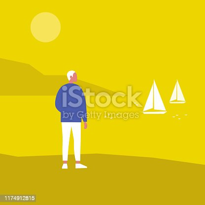 Young male character looking at the sea view. Sail boats. Summer. Vacation. Resort. Lifestyle. Flat editable vector illustration, clip art