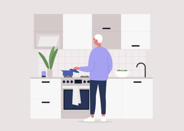 Young male character making meal at the kitchen, rear view, stay at home lifestyle Young male character making meal at the kitchen, rear view, stay at home lifestyle cooking silhouettes stock illustrations