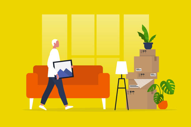 young male character moving to a new apartment. relocation. mortgage. flat editable vector illustration, clip art - przeprowadzka stock illustrations