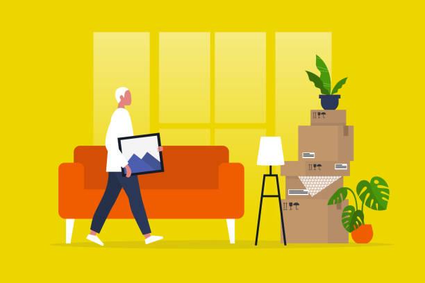 illustrazioni stock, clip art, cartoni animati e icone di tendenza di young male character moving to a new apartment. relocation. mortgage. flat editable vector illustration, clip art - portare