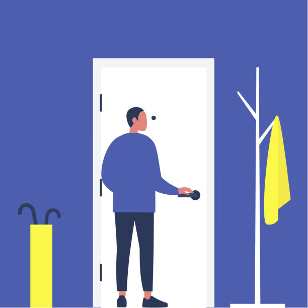 Young male character opening a front door, furnished apartment corridor, lifestyle, daily life Young male character opening a front door, furnished apartment corridor, lifestyle, daily life one man only stock illustrations