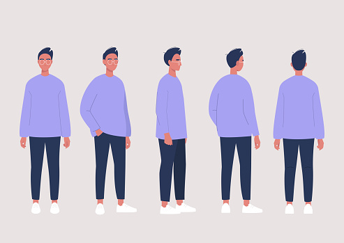 Young male character poses collection: front, side and back views