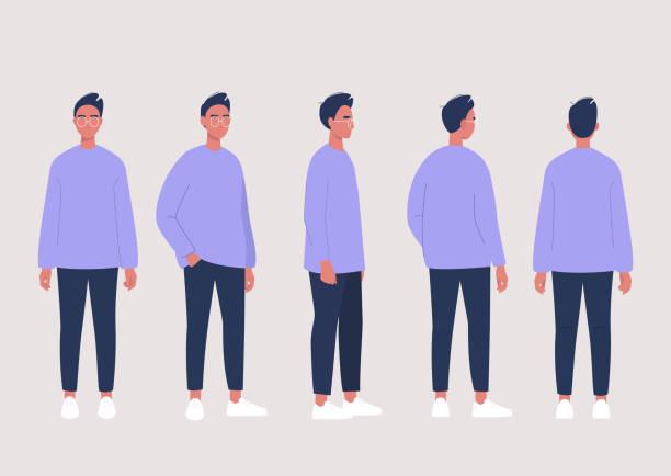 młoda męska postać pozuje kolekcja: widok z przodu, z boku i z tyłu - plecy stock illustrations
