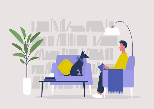 Young male character reading a book in a home library, lifestyle illustration