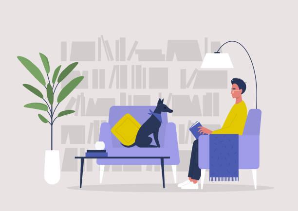 ilustrações de stock, clip art, desenhos animados e ícones de young male character reading a book in a home library, lifestyle illustration - coffee table