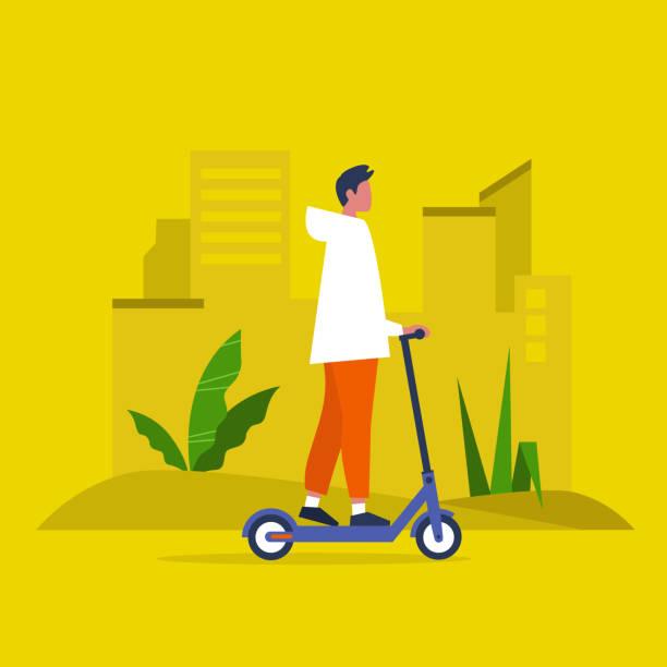 stockillustraties, clipart, cartoons en iconen met jonge mannelijke karakter een elektrische scooter rijden. stedelijk vervoer. moderne technologieën. duizendjarige levensstijl. actieve jonge volwassenen. plat bewerkbare vectorillustratie, illustraties - step