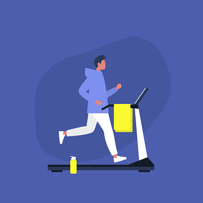Young male character running on a treadmill in the gym, Sport and Active lifestyle