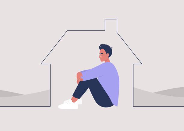 stockillustraties, clipart, cartoons en iconen met jong mannelijk karakter dat thuis, quarantaine en sociale distantiëring wordt geïsoleerd - claustrofobie
