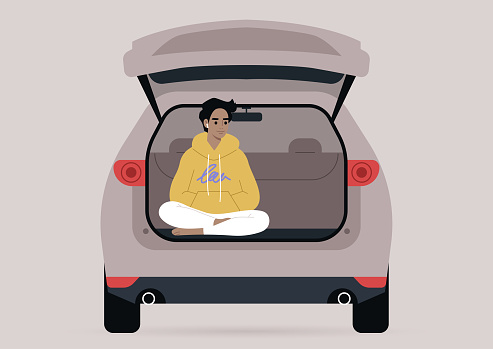 A young male character sitting in a car trunk with their legs crossed, millennial lifestyle