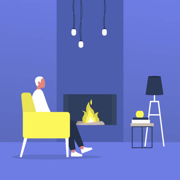 ilustrações de stock, clip art, desenhos animados e ícones de young male character sitting next to a fireplace, modern living room interior - braseiro
