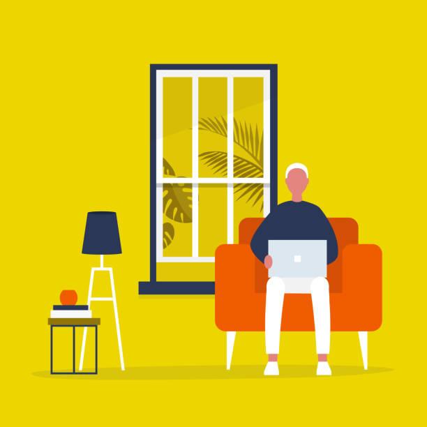 junge männliche figur sitzt mit einem laptop in einem wohnzimmer. modernes büro-interieur. millennials bei der arbeit. flache vektorillustration, clip-kunst - wohnzimmer gemütlich stock-grafiken, -clipart, -cartoons und -symbole