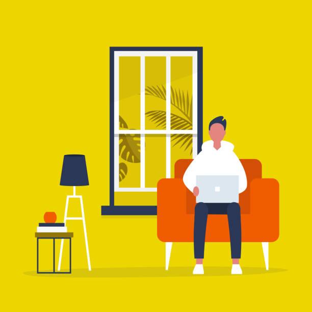 junge männliche figur sitzt mit einem laptop in einem wohnzimmer. modernes büro-interieur. millennials bei der arbeit. flache vektorillustration, clip-kunst - gartensofa stock-grafiken, -clipart, -cartoons und -symbole