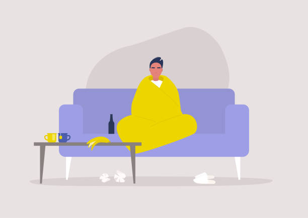 illustrazioni stock, clip art, cartoni animati e icone di tendenza di young male character sitting wrapped in a blanket, depression and anxiety, self isolation, stay at home order - divano procrastinazione