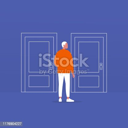 Young male character standing in front of two closed doors. Entering the building. Flat editable vector illustration, clip art