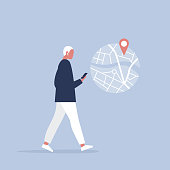 Young male character using a navigational app. Map and geo tag. Millennials and devices. Flat editable vector illustration, clip art