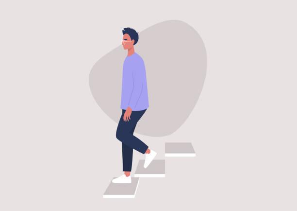 junger männlicher charakter geht die treppe hinunter, gebäudeeingang, tagesablauf - treppe stock-grafiken, -clipart, -cartoons und -symbole