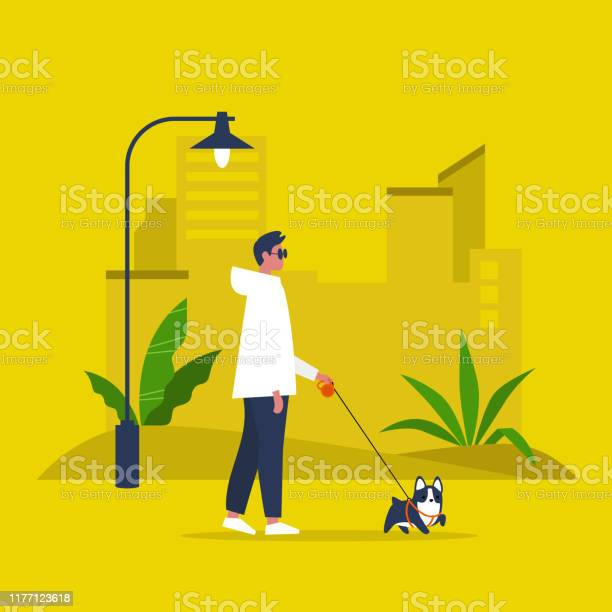 Young male character walking with a dog on a leash recreation outdoor vector id1177123618?b=1&k=6&m=1177123618&s=612x612&h=1syu19cpdtcnkcbbwpiwh1ogmnoyw5rechs4qfmiztc=
