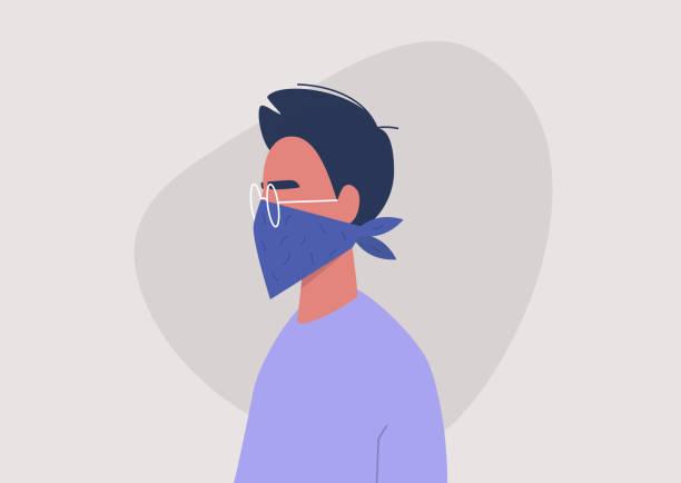 bildbanksillustrationer, clip art samt tecknat material och ikoner med ung manlig karaktär bär en bandana som ansiktsmask, coronavirus skydd, luftvägssjukdom - face mask