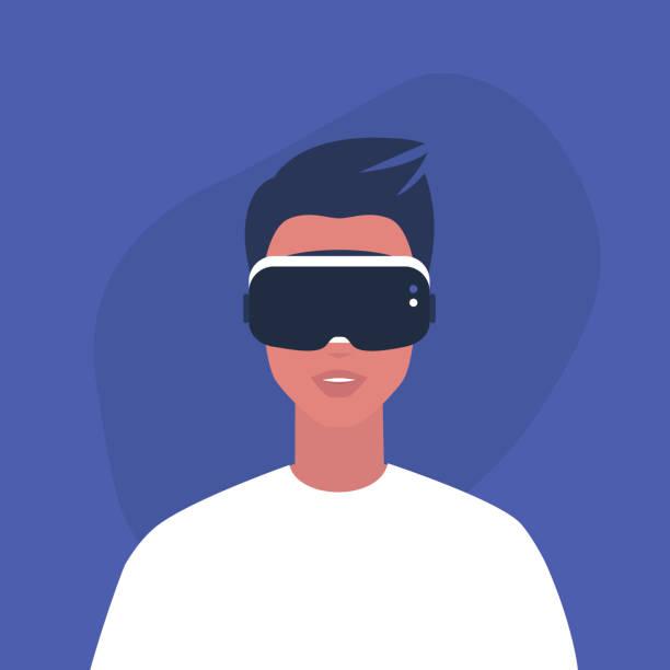 illustrazioni stock, clip art, cartoni animati e icone di tendenza di young male character wearing a virtual reality headset, millennial gadgets and lifestyle - ritratto 360 gradi