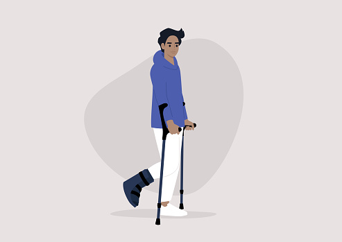 A young male character with a fractured leg using crutches to walk, health care