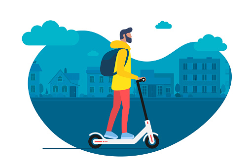 Young male character with backpack ride modern urban transport electric kick scooter. Active hipster adult millennial uses lifestyle ecology technologies. Vector illustration youth on cityscape