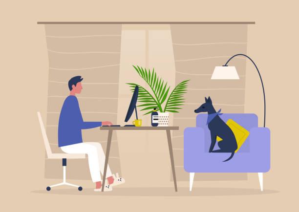 stockillustraties, clipart, cartoons en iconen met jong mannelijk karakter dat van huis, zelfisolatie, werkruimte in de woonkamer werkt - thuiswerken