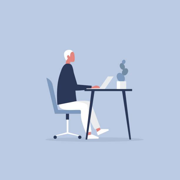 オフィスで働く若い男性キャラクター。家具。キャビネット。ワークスペースです。仕事で新世紀。フラット編集可能なベクトル イラスト、クリップアート - 机点のイラスト素材/クリップアート素材/マンガ素材/アイコン素材