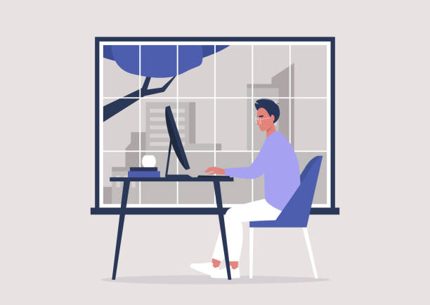 stockillustraties, clipart, cartoons en iconen met jong mannelijk karakter dat in het bureau, vensterstadsscapemening, millennials aan het werk werkt - alleen één jonge man