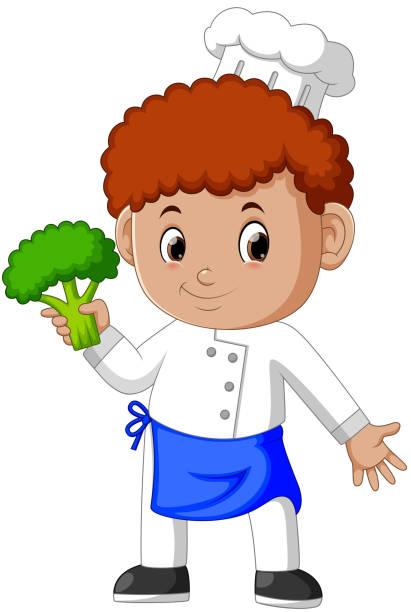 ilustrações, clipart, desenhos animados e ícones de jovem chef masculino segurando brócolis fresco - fine dining