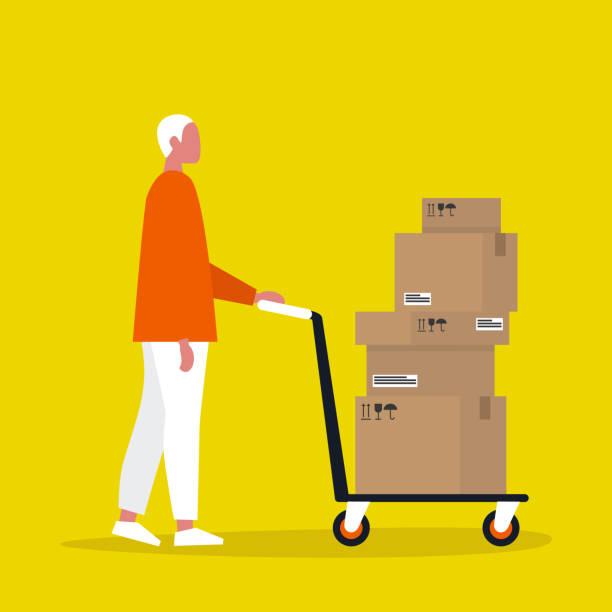 ilustrações, clipart, desenhos animados e ícones de correio masculino novo que rola um pushcart. carga. serviço de entregas. ilustração editable lisa do vetor, arte de grampo - só um homem jovem