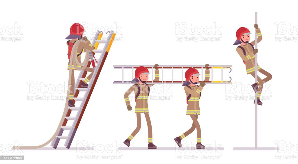 Young male firefighter at ladder and pole vector art illustration