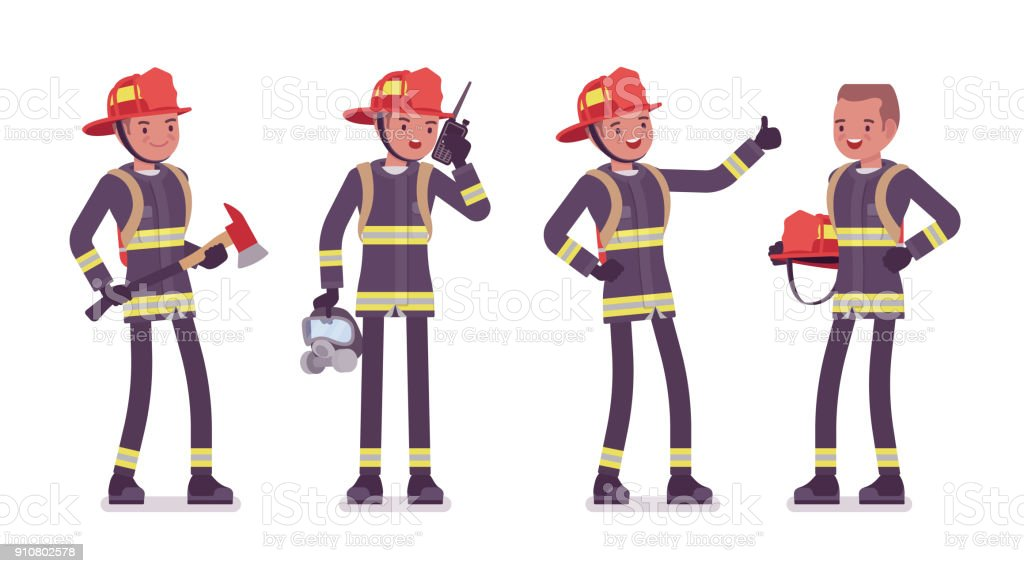 Young male firefighter standing vector art illustration