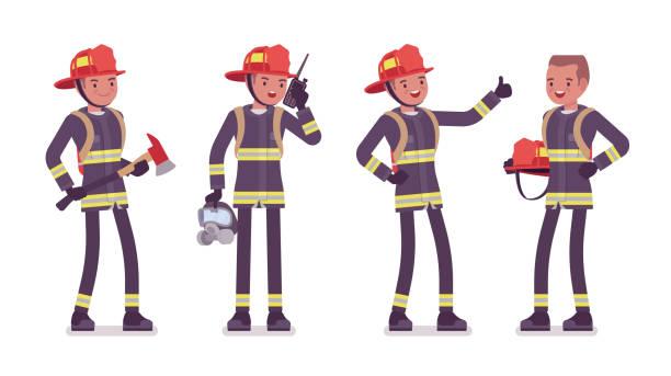 ilustraciones, imágenes clip art, dibujos animados e iconos de stock de permanente joven bombero masculino - bombero