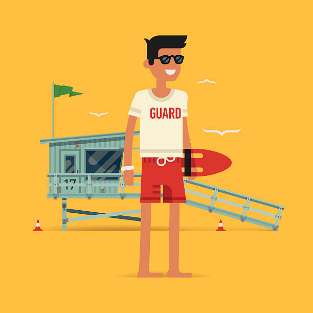 Young male lifeguard standing full length illustration Cool vector modern flat character design on young male lifeguard standing full length holding rescue buoy with lifeguard tower in background lifeguard stock illustrations