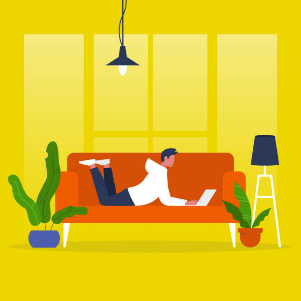 illustrazioni stock, clip art, cartoni animati e icone di tendenza di young male manager lying on a sofa with a laptop. modern office. freelance. daily routine. millennial lifestyle. flat editable vector illustration, clip art - guy sofa