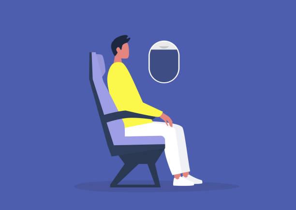 uçakta oturan genç erkek yolcu, seyahat konsepti, bin yıllık yaşam tarzı - airplane seat stock illustrations